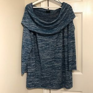 ANA Teal and Gray cowl neck sweater